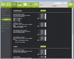 The main PID setup in APM Mission Planner. Note that the defaults work for most frames, and guidance values are given for different frame sizes.
