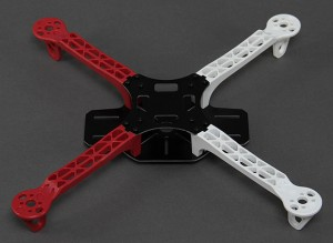 The 330 size frame is made of glass fiber plates and polyamide arms that are both cheap to replace, and even be easily repaired with 5-minute epoxy glue.