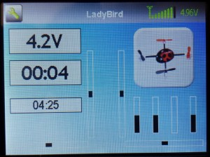 The main screen is completely configurable and you can choose what to display, in this case the battery voltage via telemetry, and some timers.