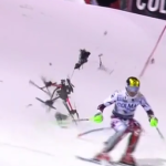 Multicopter almost hits Marcel Hirscher during slalom race